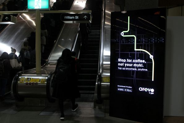 'Stop for coffee, not your myki. Top up anywhere, anytime' advertisement for Arevo by RACV