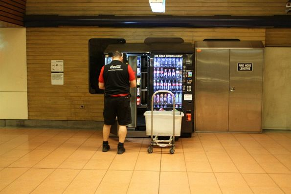 Refilling the vending machines at Flagstaff station