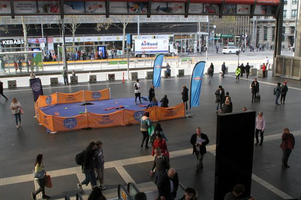 'Little Shredders' skiing promotion on the concourse at Southern Cross Station