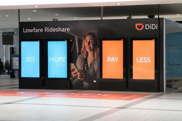 DiDi 'rideshare' advertisement at Flinders Street Station