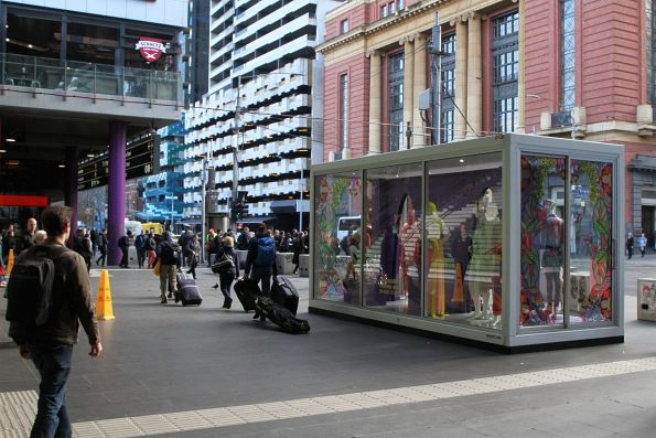 Melbourne Fashion Week display blocks the Bourke Street entrance to Southern Cross Station