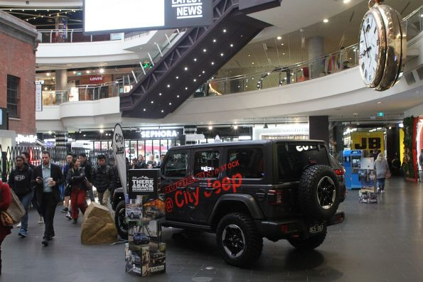 Main entrance to Melbourne Central station blocked by a City Jeep car display