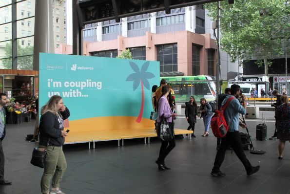 Deliveroo promotion setting up on the main concourse at Southern Cross Station