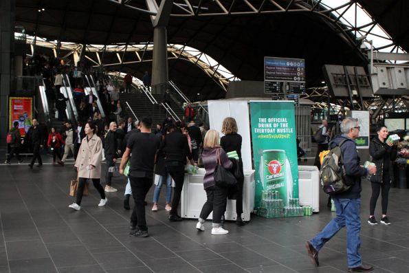 Carabao energy drink promotion at the main entrance to Southern Cross Station