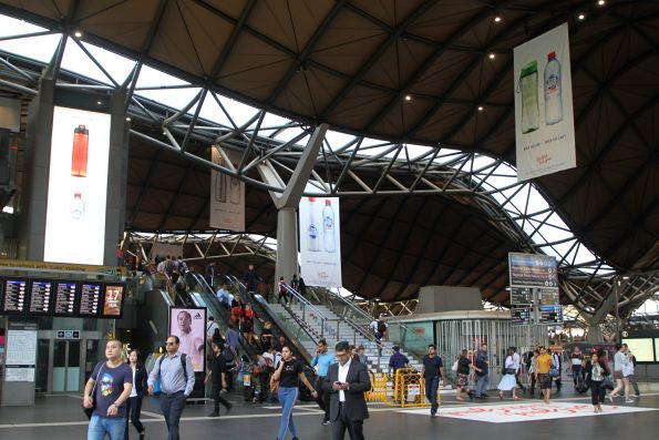Greenwashing campaign for 'Cool Ridge' bottled water at Southern Cross Station