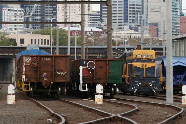 Two rakes of ELX wagons for spoil trains stabled at Melbourne Yard, T413 alongside