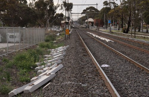 Concrete resleepering on the Sydenham line, at Ginifer looking down