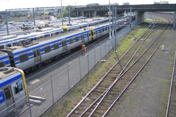 Melbourne Yard stabling beside North Melbourne station, the lead to the train wash is in the foreground