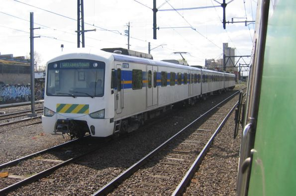 3-car Siemens 818M between Williamstown shuttle runs, in the Altona sidings at Newport