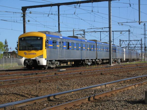 Siemens 703M-2502T-704M leads an up Williamstown service at Newport