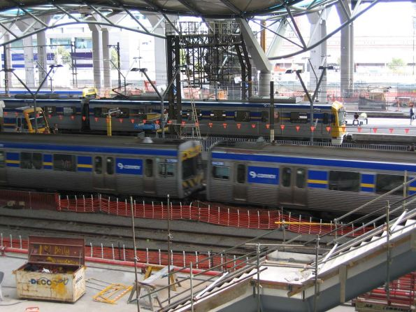 Line up at Southern Cross platforms 9 through 12 - Alstom Comeng, X'Trapolis, EDI Comeng and Siemens