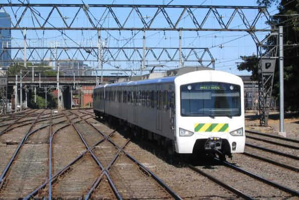 3-car Siemens train on a down Werribee service at North Melbourne Junction