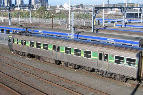 Hitachi 129M leads on departure from the Melbourne Yard train wash