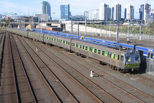 Hitachi train departs the train wash at Melbourne Yard