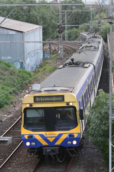 Comeng on a down Broadmeadows service at Arden Street Kensington