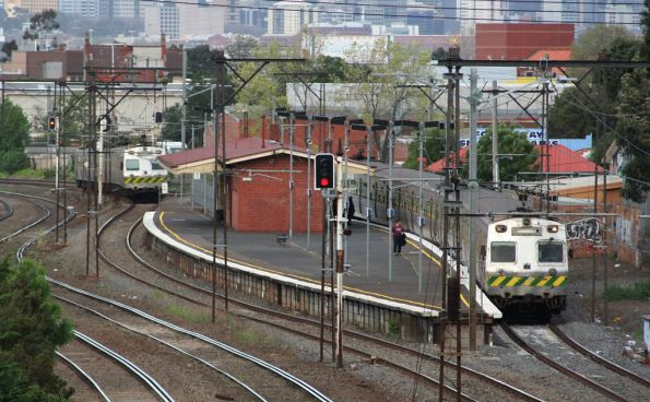 A step back to the 1990s - two Hitachi trains pass at Middle Footscray