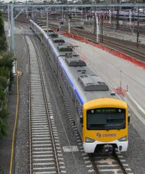 Out of service Siemens trains arrives at Southern Cross via the goods lines from Melbourne Yard