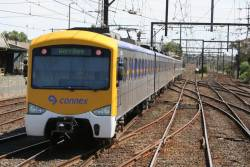 Siemens on a down Werribee train approaches South Kensington