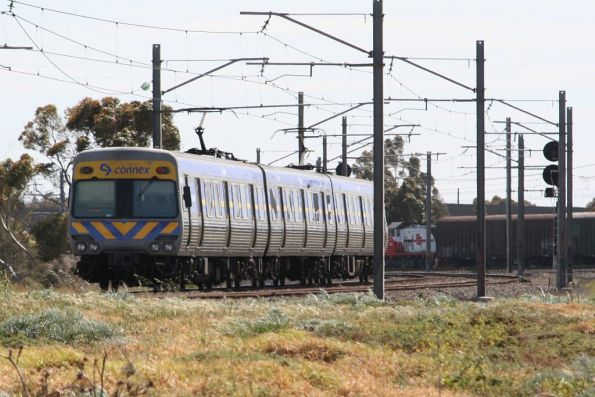 3-car Alstom Comeng rolls through Laverton Junction on a down Werribee service