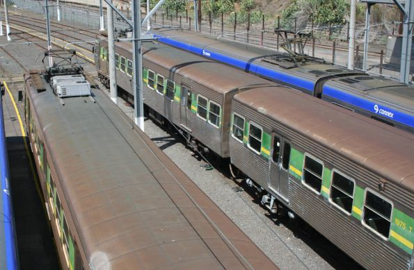 Pair of Hitachi trains stabled at Melbourne Yard