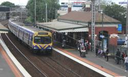 EDI Comeng train on a down Werribee service at Footscray