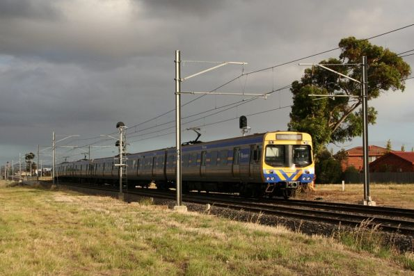 EDI Comeng leads an up Watergardens service out of Sydenham