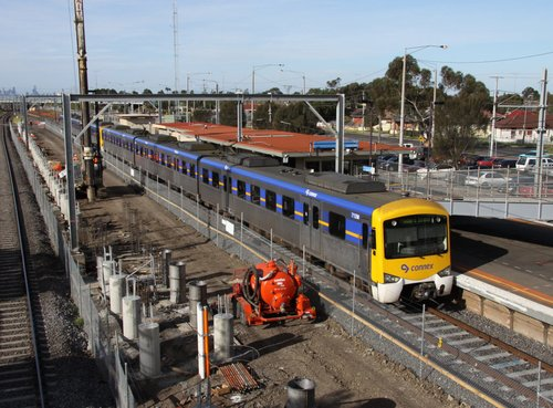 Siemens stops for passengers at Laverton station, surrounded by construction