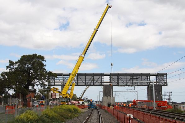 Northern side of the new footbridge at Coolaroo, having been lifted into place that morning