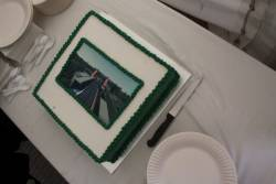 Celebratory cake with an artists impression of the station printed on it