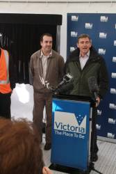 Premier John Brumby and Public Transport Minister Martin Pakula make their speeches