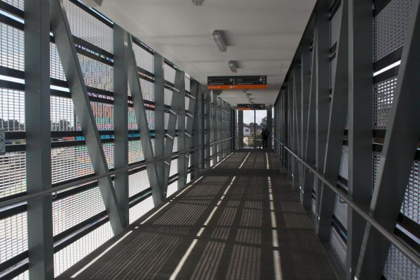Inside the footbridge at Coolaroo station