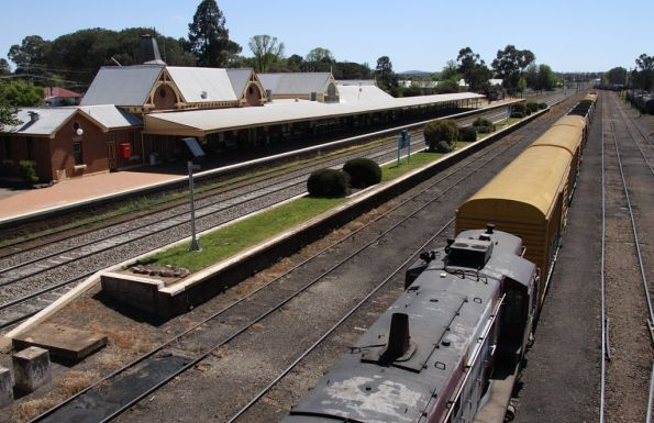 4836 stabled on a rake of assorted wagons at Cootamundra, station building and mainline behind