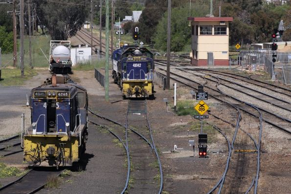 48145 and 48142 among the stabled locos at Cootamundra, South Box in the background