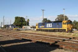 8183 and 8230 stabled in the yard at Cootamundra