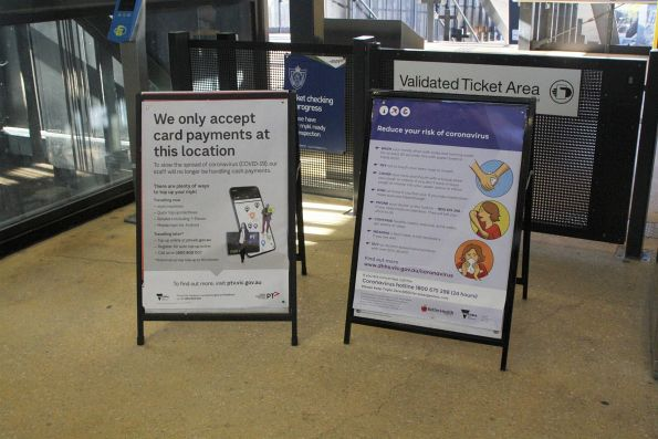 'We only accept card payments at this location' and 'Reduce your risk of coronavirus' posters poster at Sunshine station