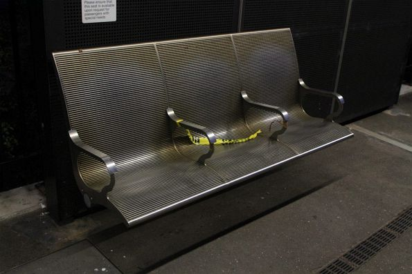 Seats cordoned off on the V/Line platform at Footscray station