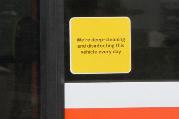 'We're deep-cleaning and disinfecting this vehicle every day' sign on a Sita bus