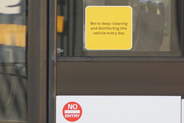 'We're deep-cleaning and disinfecting this vehicle every day' sign on a CDC Melbourne bus