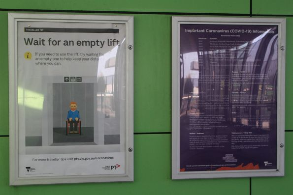 'Wait for an empty lift' and 'Restricted Postcodes' information posters at West Footscray station