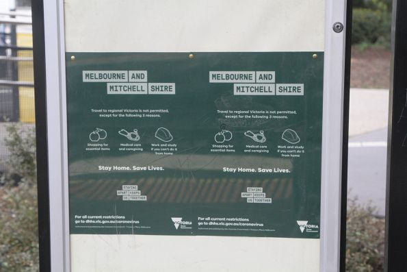 'Travel to regional Victoria is not permitted' signage at Sunshine station
