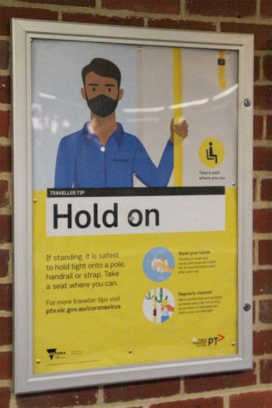 'Hold on' poster at Diggers Rest station