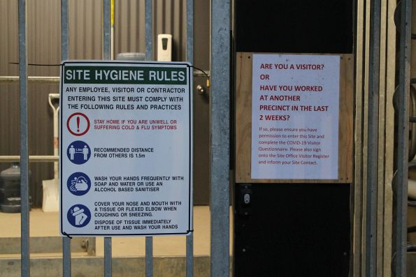 Site hygiene rules at a Metro Tunnel work site entrance
