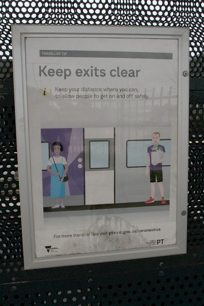 'Keep exits clear' poster at Tarneit station