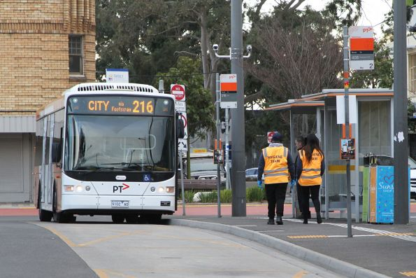 'Hygiene team' wiping down timetables and bus shelters at the Sunshine station bus interchange