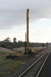 Piling rig at work on the Craigieburn electrification project near Roxburgh Park