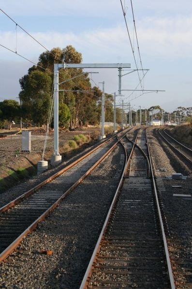 Pointwork allowing up suburban trains to depart Craigieburn platform 2