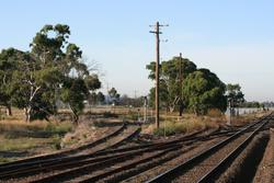 Junction at Somerton of the main line and the disused line towards Upfield
