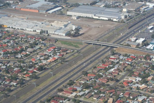 Craigieburn line from the air, looking up the line towards Broadmeadows station