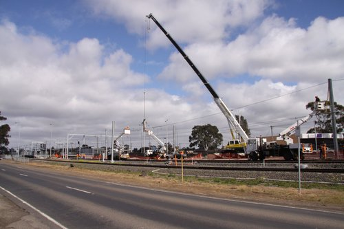 Work on electrifying the up line at Craigieburn