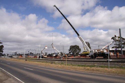 Work on electrifying the up line at Craigieburn
